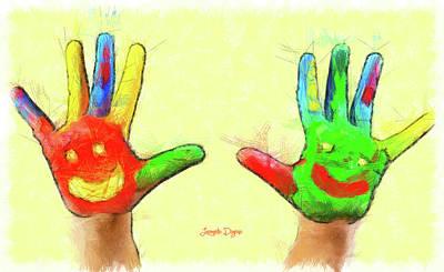 Finger Painting - Hands In Art by Leonardo Digenio