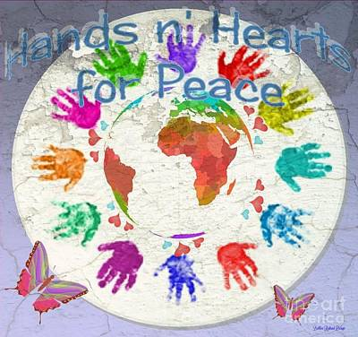Digital Art - Hands N Hearts For Peace by Bobbee Rickard