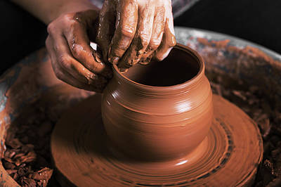Artist Working Photograph - Hands Of A Potter, Creating An Earthen Jar On The Circle by Alim Yakubov
