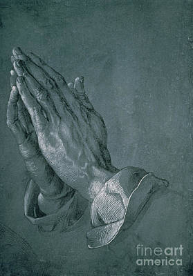 Religious Drawing - Hands Of An Apostle by Albrecht Durer