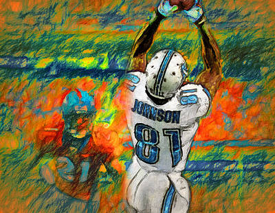 Detroit Lions Painting - Hands Of Calvin by John Farr