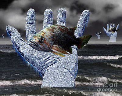 Hands Of The Lost Fishermen Art Print by Keith Dillon
