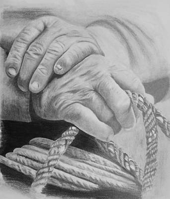 Working Cowboy Drawing - Hands Of The Master by Duane Isaacson