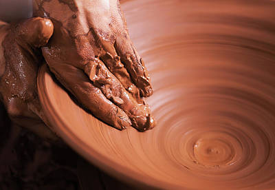 Artist Working Photograph - Hands Of Young Potter, Was Produced On Range Of Pot. by Alim Yakubov