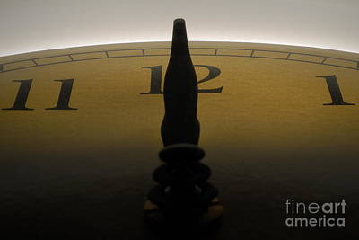 Hands On A Clock Showing 12 Noon Or Midnight Art Print by Sami Sarkis