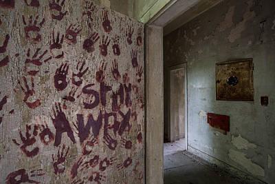 Hands On The Door - Abandoned Building Art Print
