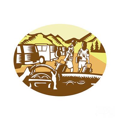 Hands On Wheel Tourist Mountain Oval Woodcut Art Print