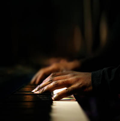 Hands Playing Piano Close-up Art Print