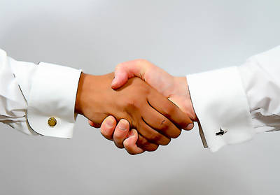 Cufflinks Photograph - Handshake Between Black And White Smartly Dressed Business Men Illustration by Michael Charles