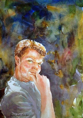 Contemplative Painting - Handsome Boy by Shirley Sykes Bracken