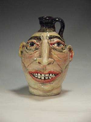 Face Jug Ceramic Art - Handsome In His Way by Stephen Hawks