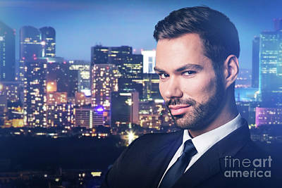 Photograph - Handsome Man On City At Night Background. by Michal Bednarek