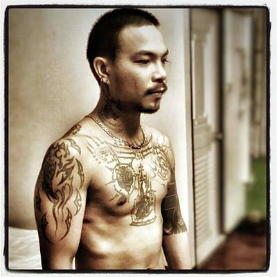 Art Print featuring the photograph Handsome Man With Tattoos. #thailife by Mr Photojimsf
