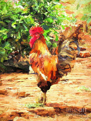 Digital Art - Handsome Rooster by Tina LeCour