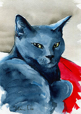 Painting - Handsome Russian Blue Cat by Dora Hathazi Mendes