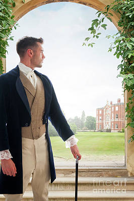 Photograph - Handsome Victorian Man Looking Towards A Country Mansion by Lee Avison