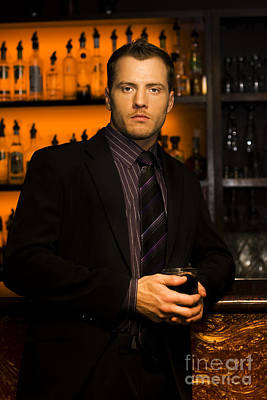 Drinker Photograph - Handsome Young Man At Nightclub Bar by Jorgo Photography - Wall Art Gallery
