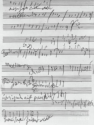 Music Score Drawing - Handwritten Musical Score by Beethoven