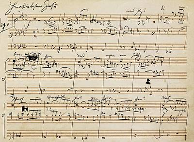 Sheet Music Drawing - Handwritten Score For Herzliebster Jesu, Chorale Prelude Number 2 by Johannes Brahms