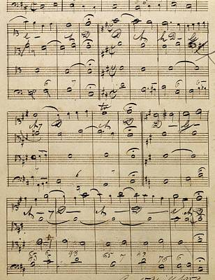 Music Score Drawing - Handwritten Score by Edvard Grieg