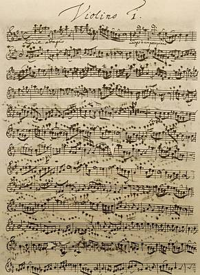 Sheet Music Drawing - Handwritten Score For Mass In B Minor by Johann Sebastian Bach