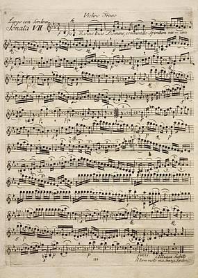 Music Score Drawing - Handwritten Score For Sonata Vii Sieben Worte by Franz Joseph Haydn