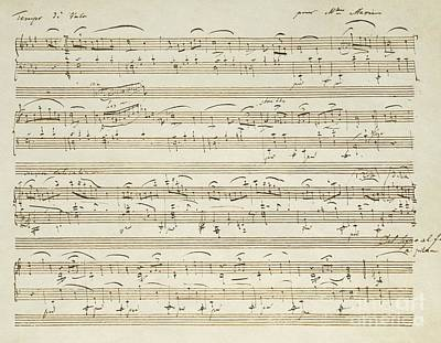Handwritten Score For Waltz In Flat Major Art Print by Frederic Chopin