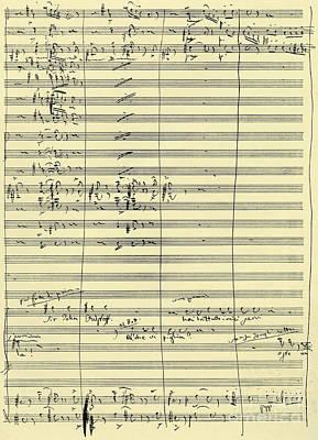 Verdi Wall Art - Drawing - Handwritten Score From Falstaff  by Giuseppe Verdi