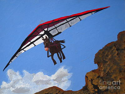Loveland Painting - Hang Gliding Donkey by Kerri Ertman