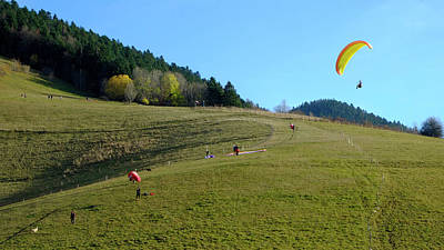 Photograph - Hang Gliding In The Prealps by August Timmermans