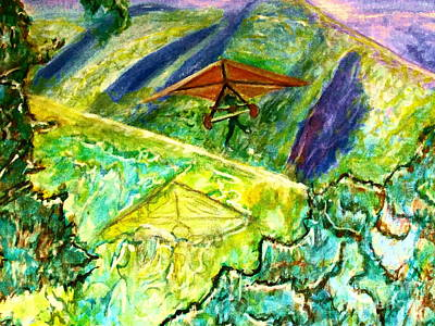 Painting - Hang Gliding The Mountain by Stanley Morganstein
