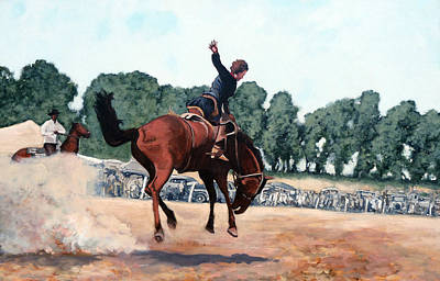 Bucking Bull Painting - Hang On Hastings by Tom Roderick