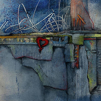 Squares Mixed Media - Hang On, Love  by Laura Lein-Svencner