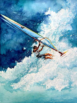 Wind Surfing Art Painting - Hang Ten by Hanne Lore Koehler