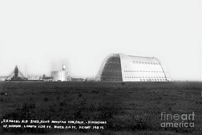 Photograph - Hangar One At Moffett Field, California Circa 1932 by California Views Archives Mr Pat Hathaway Archives