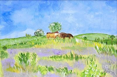 Konza Prairie Painting - Hanging Around by Teresa White