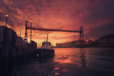 Photograph - Hanging Bridge Of Vizcaya At Sunset by Mikel Martinez de Osaba