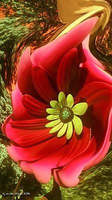 Digital Art - Hanging Buoy /a New One Cosmea Flower by Sheila Mcdonald