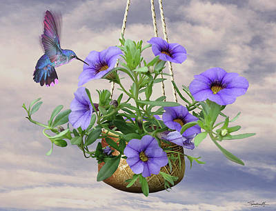 Hanging Flowers And Hummingbird Art Print by Spadecaller