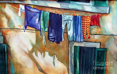 Laundry Painting - Hanging Out At Castel Gandolfo by Gail Zavala