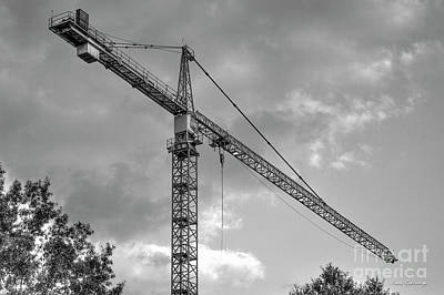 Tower Crane Photograph - Hanging Out B W Tower Crane Construction Art by Reid Callaway