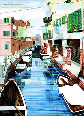 Hanging Out In Venice - Prints From Original Oil Painting Art Print by Mary Grden Fine Art Oil Painter Baywood Gallery