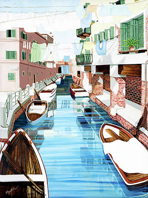 Hanging Out In Venice - Prints From My Original Oil Painting Art Print