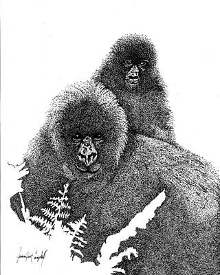 Baby Orangutan Drawing - Mommy And Me by Jennifer Campbell Brewer