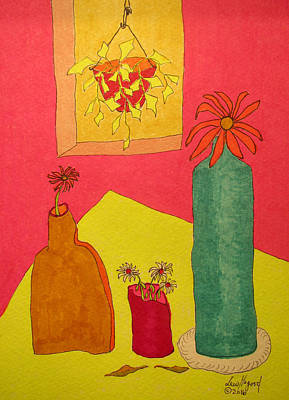 Painting - Hanging Plant And 3 On Table by Lew Hagood