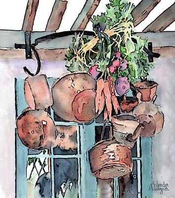 Digital Watercolor Painting - Hanging Pots And Pans by Arline Wagner