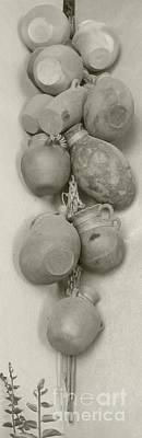 Olla Photograph - Hanging Pots Decor Antique Finish by Barbie Corbett-Newmin