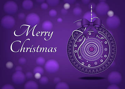 Digital Art - Hanging Purple Ornament Christmas by Serena King