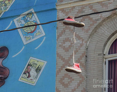 Photograph - Hanging Shoes by Cheryl Del Toro