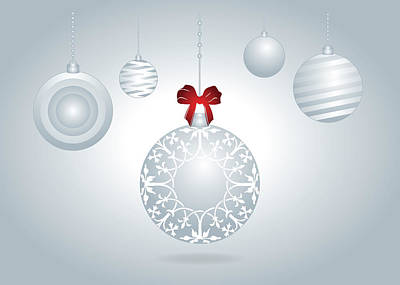 Digital Art - Hanging Silver And White Christmas Bulbs by Serena King